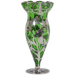 Art Nouveau Alvin Sterling over Green Glass Vase