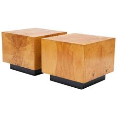 Milo Baughman Olivewood Cube Bedside Tables