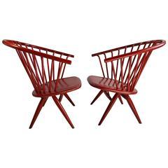 Modernist Pair Ilmari Tapiovaara Crinolette Lounge Chairs, Original Red Finish