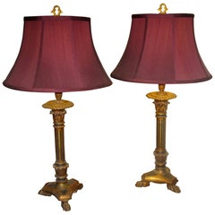 19th Century Giltwood Converted Candlestick Lamp Pair