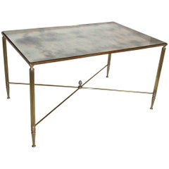 French Brass X Base Antiqued Mirror Top Cocktail Table
