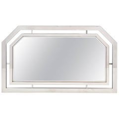 French Vintage Chrome Framed Mirror
