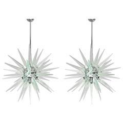 Pair of Murano Shards and Chrome Sputnik Chandeliers by Fabio Bergomi