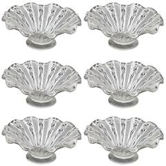 Set of Six Murano Venetian Latticino Glass Dessert Bowl or Dish