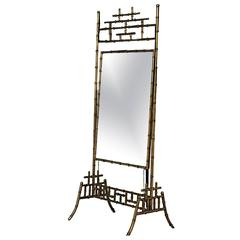 Hollywood Regency Style Faux Bamboo Cheval Mirror