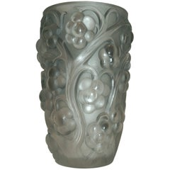 "R. Lalique ""Raisins"" or Grapes with Vines Glass Vase, 1928"