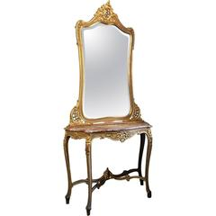 19th Century Italian Rococo Painted Marble Top Console with Mirror