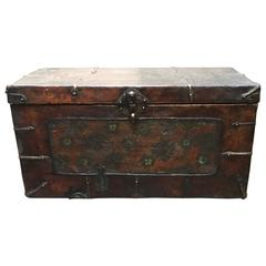 Tibetan Leather Painted Trunk