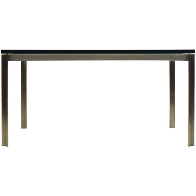 Stainless Steel Square Table with Glass by William Katavolos, Laverne