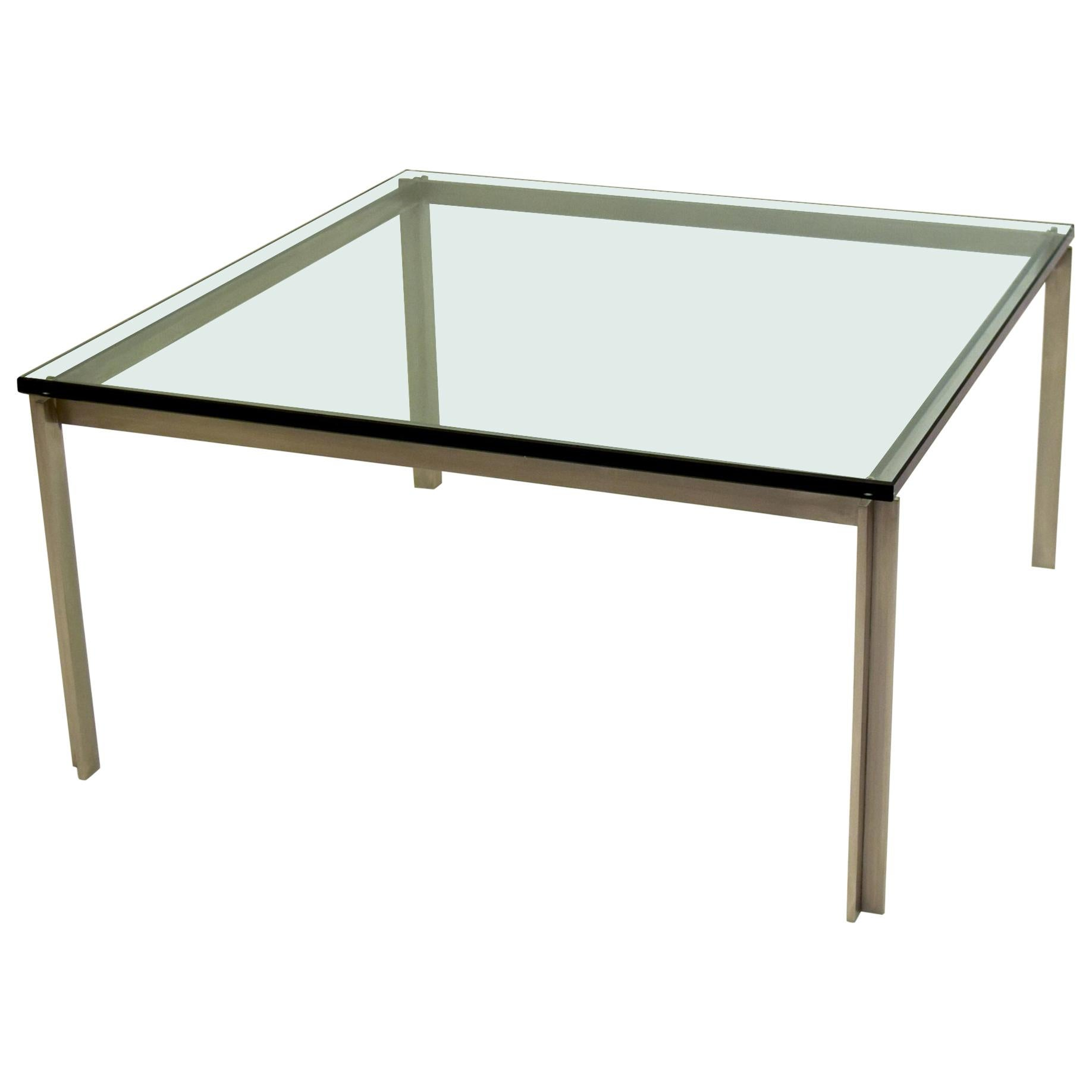 Large Stainless Steel Square Table with Glass