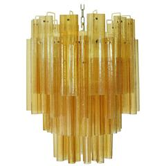 Murano Amber Tubes Chandelier by Venini