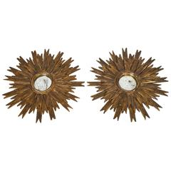 Vintage Pair of Gilt Spanish Sunburst Mirrors