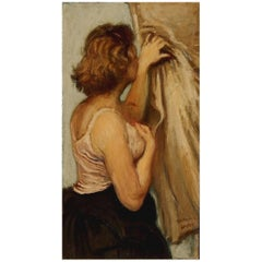 Raphael Soyer Original Oil on Panel, Dancer Waiting Backstage