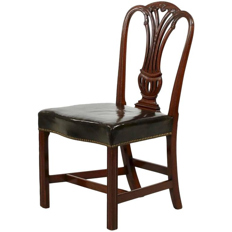 English Georgian Period Antique Mahogany Side Chair Late 18th Century For Sa