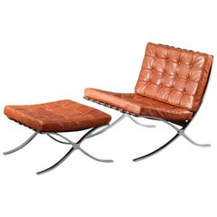 Charming Barcelona Chair with Ottoman Designed Ludwig Mies van der Rohe