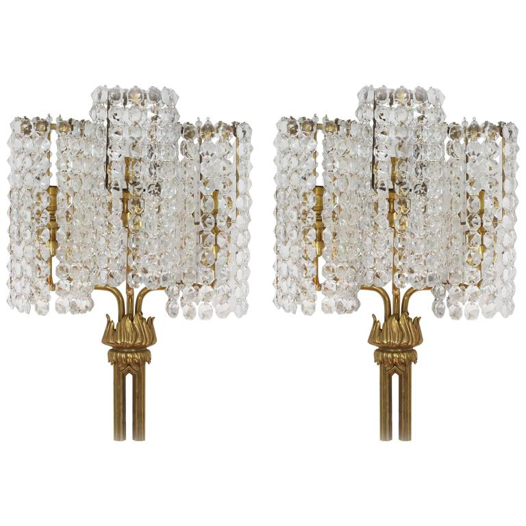 Large Crystal Wall Sconces : Amazing Large Pair of Wall Crystal Glass Sconces, Bakalowits Attributed, Vienna For Sale at 1stdibs