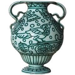 1922-25 - Vase by Casa Dell'arte, white, celadon green enamel - Italy