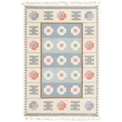 Swedish Flat-Weave Carpet Signed AW, Mid-Century