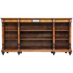 Regency 19th Century Satinwood Open Breakfront Bookcase