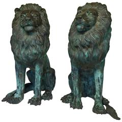 Monumental Pair of Striking Verdigris Bronze Lion Sculptures