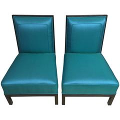 Sexy Pair of Turquoise Silk and Mahogany Lounge Chairs