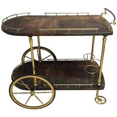 Elegant Aldo Tura Laquered Goatskin Bar Cart