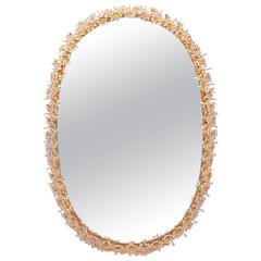 Oval Gilt Brass and Crystal Backlit Mirror by Palwa, circa 1960s