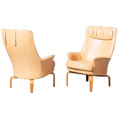 Wonderful Arne Norell Pilot Chairs Two High Back Lounge Sweden Leather and Beech