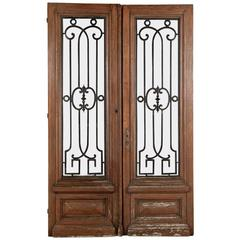 Pair of Antique French Doors with Wrought Iron