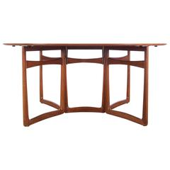 Mid-Century Modern Teak Folding Dining Table by Hvidt and Mølgaard Nielsen Model