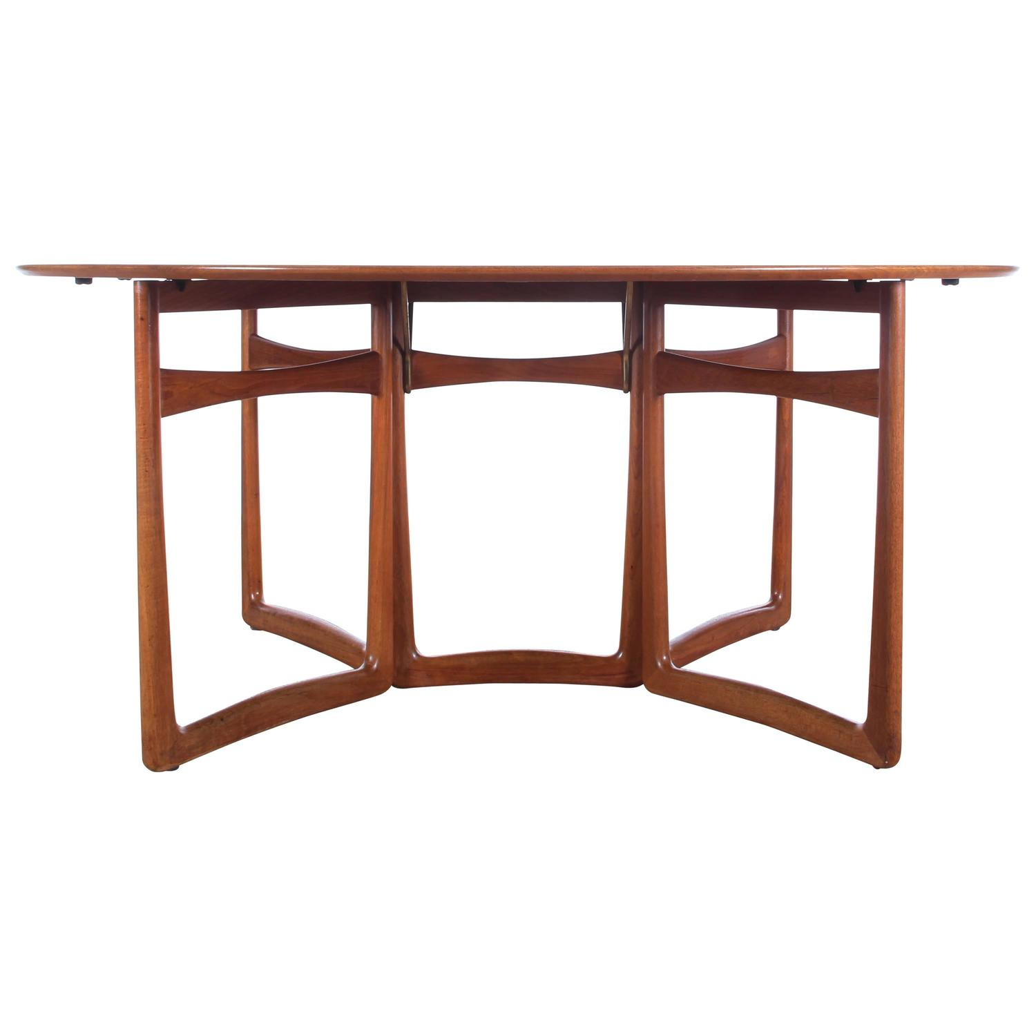 Mid century modern teak folding dining table by hvidt and m 248 lgaard