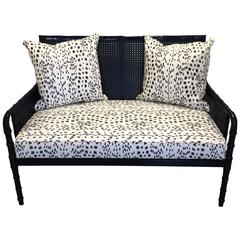 Black Bamboo Sofa with Brunschwig Fils Les Touches Upholstery