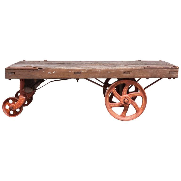 Industrial Factory Rolling Cart with Iron Wheels