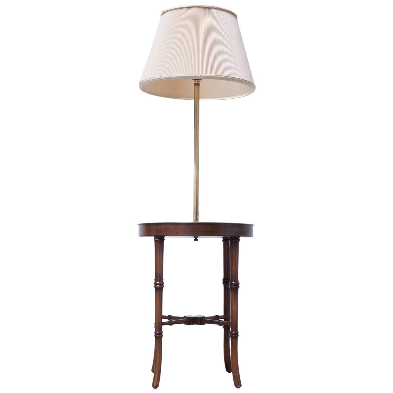 faux bamboo floor lamp with an etched brass tray table for sale at. Black Bedroom Furniture Sets. Home Design Ideas