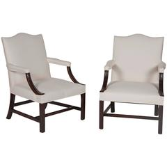 Pair of George III Style Mahogany Library Armchairs