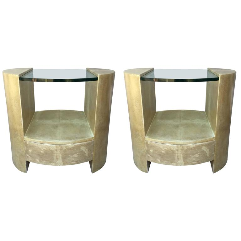 Pair of Ron Seff Goatskin Parchment Glass Side Tables /Nightstands Tables