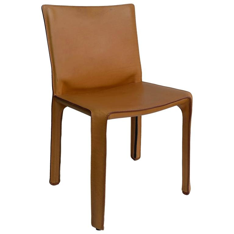 Cassina Cab Chair in Cognac Leather by Mario Bellini at