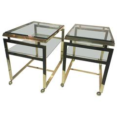 Striking Pair of Brass Tea or Serving Carts by Milo Baughman