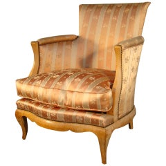 René Prou, Art Deco Sycamore Veneer Bergere Chair, circa 1925-1930