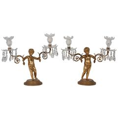 Pair of Regency Gilt Bronze Figural Candelabra by Matthew Boulton