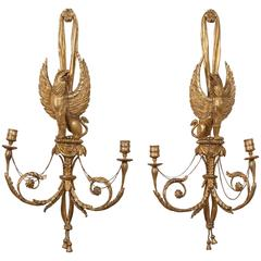 Pair of Regency Style Giltwood Gryphon Wall Sconces