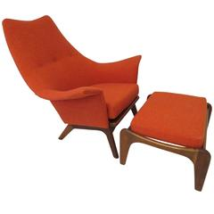 Spectacular Adrian Pearsall Wingback Sculptural Walnut Chair and Ottoman