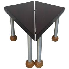 Pair Triangular Tables Spun Aluminum Legs Blonde Mahogany Ball Feet Russel Wrigh