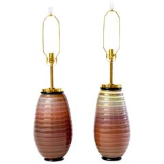 Rare Pair of 1950s Seguso Vetri d'Arte Murano Lamps