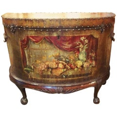 English Painted Leather Chest on Stand in French Taste Demilune Shape