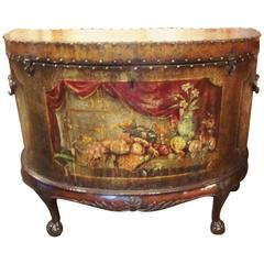Rare English Painted Leather Chest on Stand in French Taste Demilune Shape