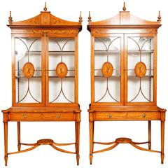 Pair of Regency Style Satinwood Display Cabinets Bookcases Sheraton Furniture