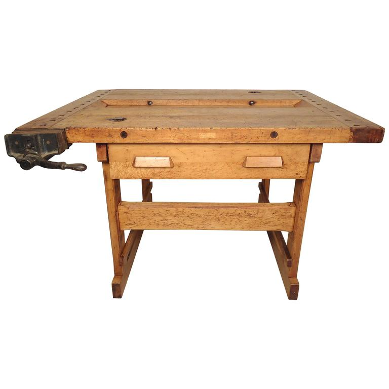 vintage work bench with vice at 1stdibs