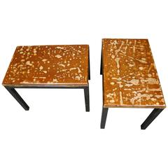 Roger Capron Pair of French Ceramic Side or End Tables