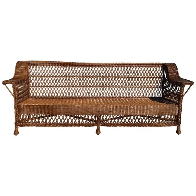 antique bar harbor wicker sofa for sale at 1stdibs. Black Bedroom Furniture Sets. Home Design Ideas